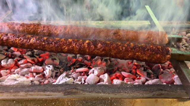 adana kebab on barbecue - hatay stock videos & royalty-free footage