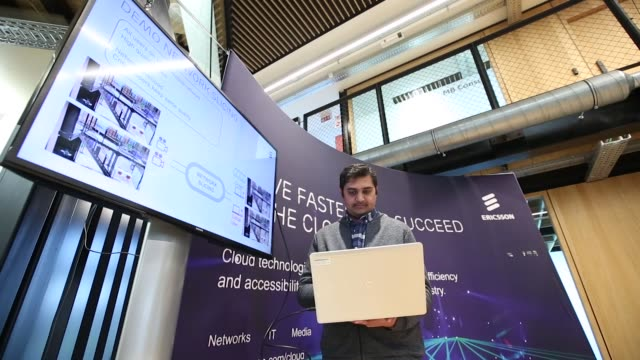 Adarsh Umashankar engineer at Ericsson AB demonstrates 5G core network slicing as the Swedish network maker opens their 5G mobile data service and...