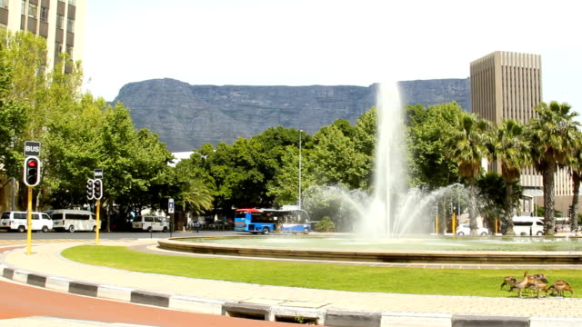WS Adderley Street Fountain with Table Mountain behind, Cape Town, South Africa