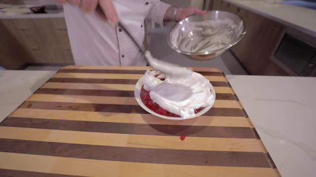 adding egg whites to a dessert - meringue stock videos & royalty-free footage