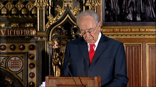 Address by Israeli President Shimon Peres to the British Parliament Shimon Peres address to Parliament SOT The Middle East requires international...