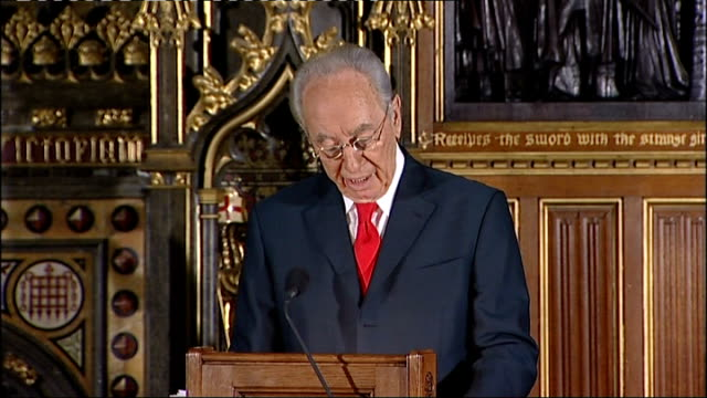 address by israeli president shimon peres to the british parliament shimon peres address to parliament sot the words of the great poet isaac rosenbeg... - last day stock videos & royalty-free footage