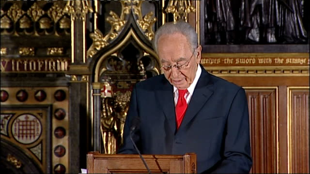 stockvideo's en b-roll-footage met address by israeli president shimon peres to the british parliament; shimon peres address to parliament sot as churchill told the parliament during a... - home economics