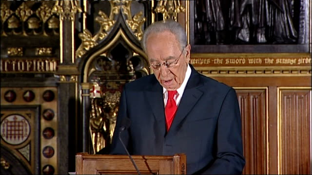 address by israeli president shimon peres to the british parliament shimon peres address to parliament sot he was saved at the last moment by an... - address book stock videos & royalty-free footage