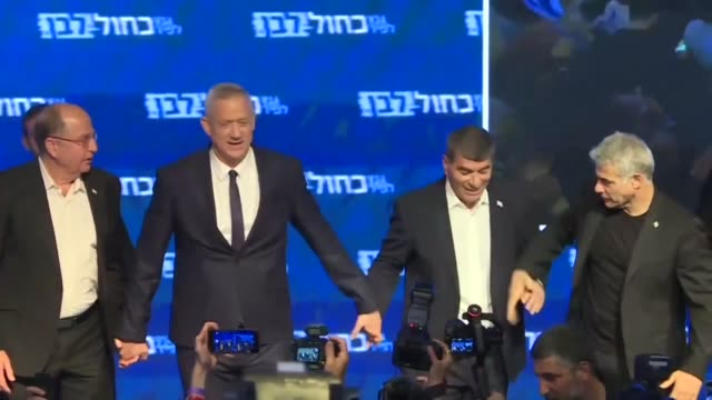 addressing cheering supporters at an event hall in tel aviv ex-military chief and blue and white candidate benny gantz says the results are evolving... - benjamin netanyahu stock videos & royalty-free footage
