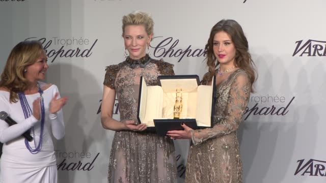 INTERVIEW Adele Exarchopoulos on receiving the Chopard Trophy at Chopard Trophy Party at Martinez Hotel on May 15 2014 in Cannes France