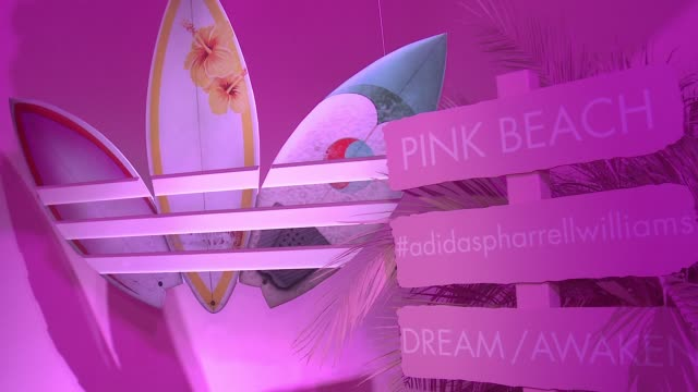 SIGNAGE adidas Originals = PHARRELL WILLIAMS Pink Beach Launch S/S16 on May 13 2016 in West Hollywood California