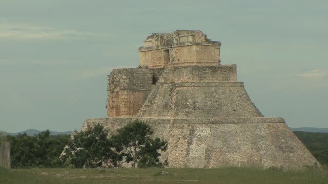 WS Adivino (Pyramid of Magician) at pre-Columbian ruined city of Maya civilization / Uxmal, Yucatan, Mexico