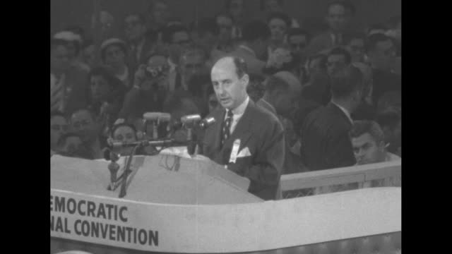 sot adlai stevenson accepts nomination as democratic candidate for president delivers speech at 1952 democratic national convention at chicago's... - adlai stevenson ii stock videos and b-roll footage