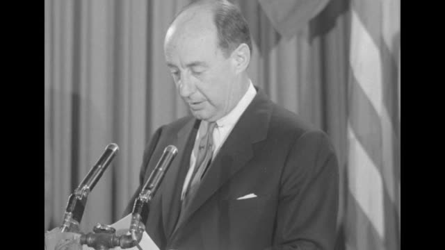 cu adlai stevenson gives concession speech at leland hotel springfield il after losing the us presidential election to republican candidate dwight... - adlai stevenson ii stock videos and b-roll footage