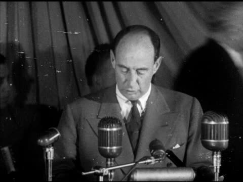 adlai stevenson ii at podium speaking about carrying the democratic traditions republicans joking about dwight eisenhower campaign political rally... - united states presidential election stock videos & royalty-free footage