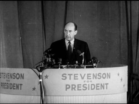 stockvideo's en b-roll-footage met adlai stevenson ii at podium speaking about the democratic party leading the american future, building for a greater america. campaign, political... - 50 seconds or greater