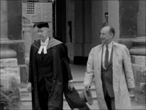 adlai stevenson ii awarded honorary degree by oxford university.; england: oxfordshire: oxford: ext lv sheldonian theatre / adlai e. stevenson with... - oxfordshire stock videos & royalty-free footage