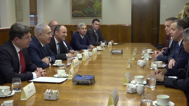 administrator jim bridenstine meets with israeli prime minister benjamin netanyahu and israeli minister of science and technology ofir akunis in... - israel stock videos & royalty-free footage