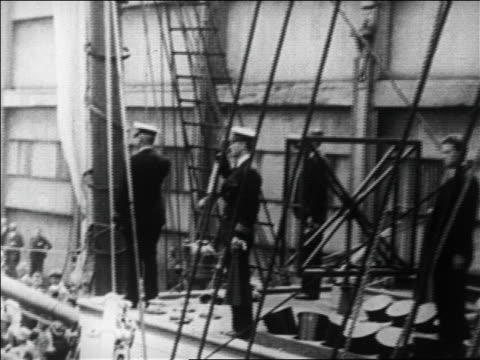 admiral byrd saluting as ship pulls out of ny harbor for expedition to north pole / news - 1926 stock videos & royalty-free footage