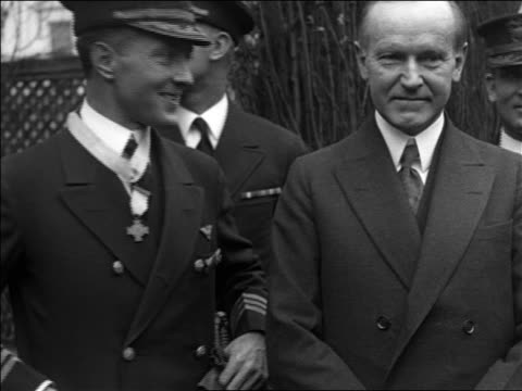 admiral byrd smiling talking to calvin coolidge / documentary - 1926 stock videos & royalty-free footage