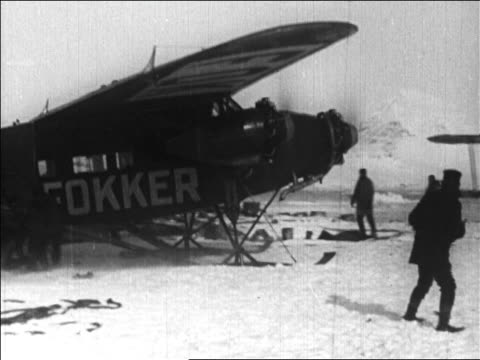 admiral byrd's airplane taxiing for take off before flight over north pole / newsreel - 1926 stock videos & royalty-free footage