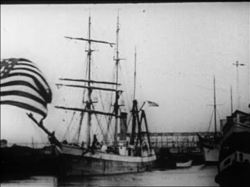 admiral byrd's supply ship docked in ny harbor / newsreel - 1926 stock videos & royalty-free footage