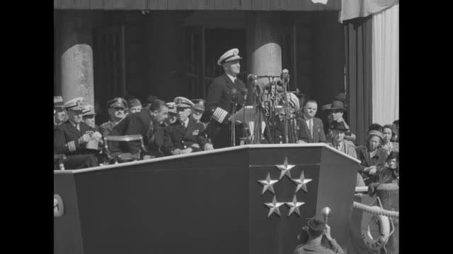 admiral chester nimitz commander in chief of us pacific fleet speaking on speaker's platform shaped like ship's prow in front of ny city hall during... - allied forces stock videos and b-roll footage