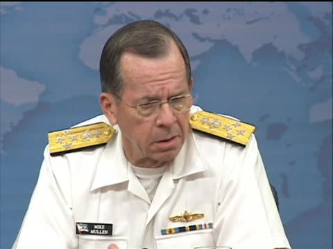 admiral mike mullen talks about the united states relationship with pakistan defense secretary robert m gates and navy admiral mike mullen chairman... - business or economy or employment and labor or financial market or finance or agriculture stock videos & royalty-free footage