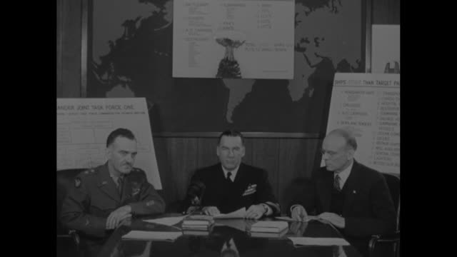 vídeos de stock e filmes b-roll de us admiral william blandy seated at desk with general william kepner us air force commanderinchief on his right and atomic scientist dr ralph sawyer... - atol de biquini