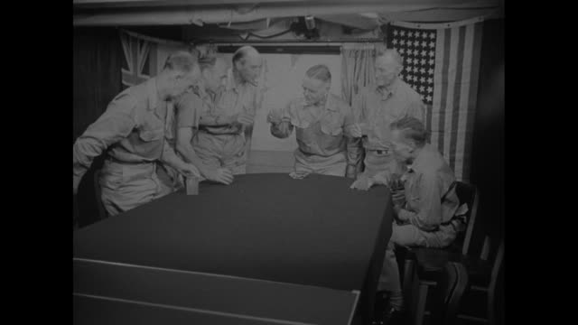 us admiral william halsey jr presides over a gathering of admirals aboard his flagship at his right is british admiral sir bernard rawlings and at... - william halsey stock-videos und b-roll-filmmaterial