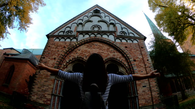 admiring lübeck cathedral - city break stock videos & royalty-free footage