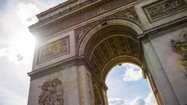 admiring the majestic arc de triomphe - triumphal arch stock videos & royalty-free footage