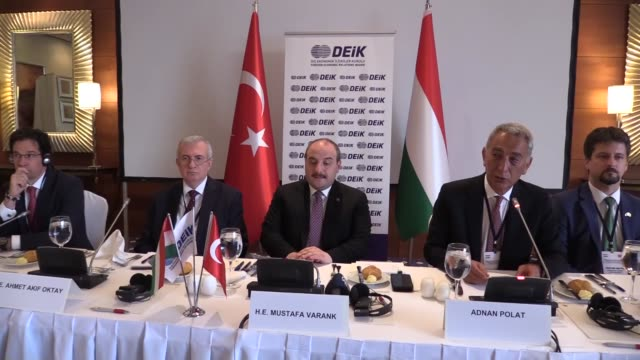 adnan polat, head of the foreign economic relations board's turkey-hungary business council, and turkish industry and technology minister mustafa... - human face video stock e b–roll