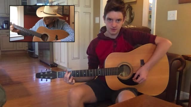 adolescent boy gets a virtual acoustic guitar lesson from a senior man via video call (audio) - pop music stock videos & royalty-free footage
