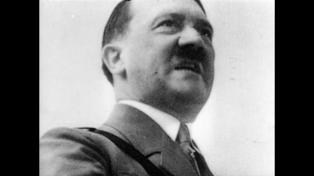 / adolf hitler address a crowd / gives passionate speech adolf hitler making impassioned speech on january 01 1940 in germany - adolf hitler stock-videos und b-roll-filmmaterial
