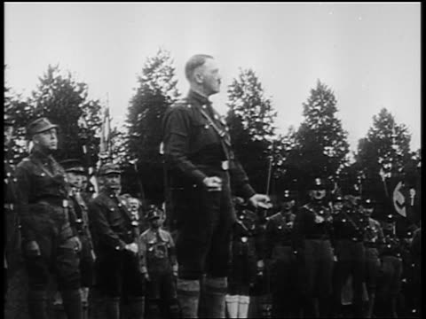adolf hitler in dark shirt giving speech at nuremberg rally / newsreel - adolf hitler stock videos & royalty-free footage