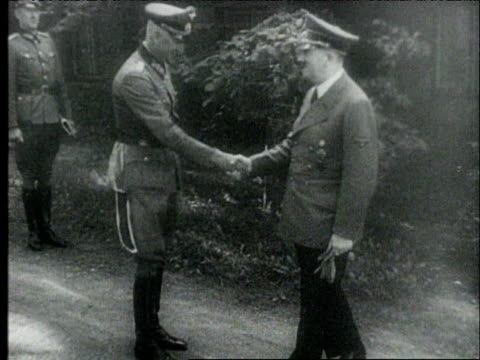 adolf hitler prematurely congratulating his generals on stalingrad attack / nazi propaganda on successful attack / nazis make medal celebrating... - 1942 stock videos & royalty-free footage