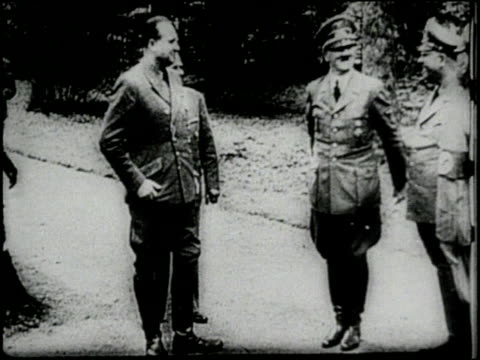 adolf hitler reacts excitedly stamping his feet and smiling after hearing that france has surrendered - surrendering stock videos & royalty-free footage