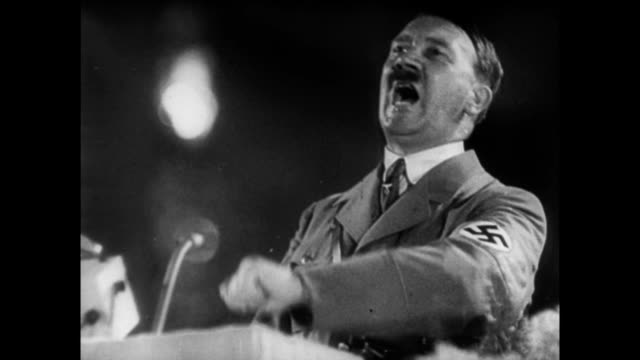 vídeos de stock, filmes e b-roll de adolf hitler speaking to the reich - adolf hitler