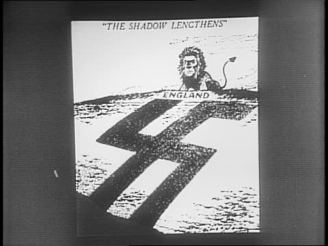 adolf hitler talks with a general / guns fire into the sky / planes in flight / cartoon showing a swastika as a shadow leading to england and a lion - hermann goering stock videos & royalty-free footage
