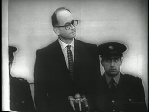 adolf otto eichmann stands front of microphones at his trial adolf otto eichmann march 19 1906 – may 31 was a german nazi and lieutenant colonel and... - crime or recreational drug or prison or legal trial stock-videos und b-roll-filmmaterial