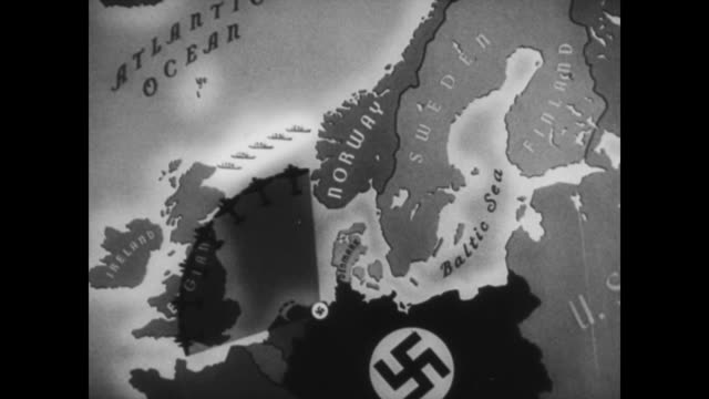 / adolph hitler and his men point to norway on a map / animated map with cu of norway's coastline / animated uboats coming out of the norwegian... - adolf hitler stock-videos und b-roll-filmmaterial