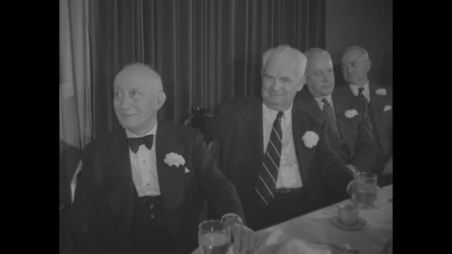 adolph zukor, to the left, seated at head table - warner bros. stock videos & royalty-free footage