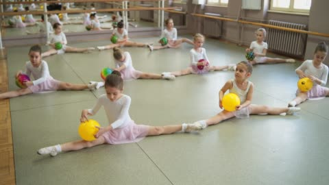 adorable ballerinas doing splits - dance studio stock videos & royalty-free footage