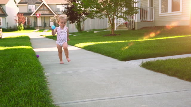 adorable beautiful little girl in the suburbs - purity stock videos & royalty-free footage