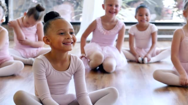 Adorable class of young ballerinas