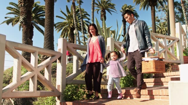 adorable family walking down to the beach - picnic basket stock videos & royalty-free footage