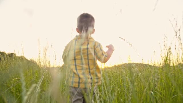 stockvideo's en b-roll-footage met slo mo schattig jongetje in het gras - ontsnappen