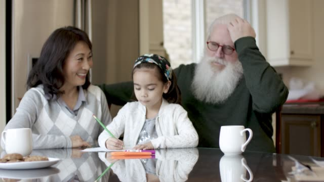 adorable little girl colouring with her grandparents - fat camera stock videos and b-roll footage
