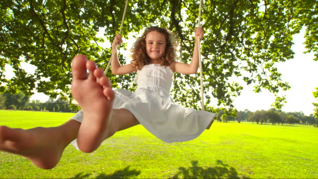 HD SLOW MOTION: Adorable Little Girl On A Swing