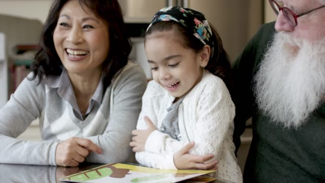 adorable little girl reading with her grandparents - fat camera stock videos and b-roll footage