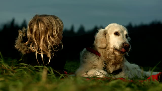 HD: Adorable Little Girl With Dog