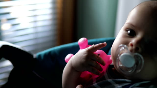 adorable male baby resting with his comforter in his mouth - pacifier stock videos and b-roll footage