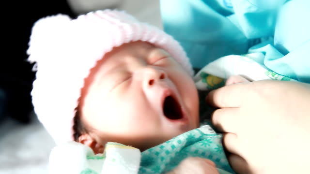 adorable newborn baby sleeping. - yawning stock videos & royalty-free footage